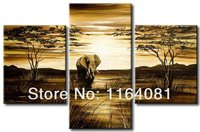 Hand painted Wall Art African Grassland Big Elephant Decoration Abstract Oil Painting on Canvas 3pcs/set Canvas Picture Wall Art