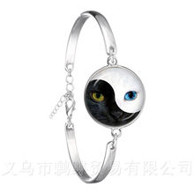 Two Eyes Black And White Symbol Chain Bracelet Yin Yang 18mm Glass Dome Silver Plated Bangle Symbolizing Harmony Gift(China)