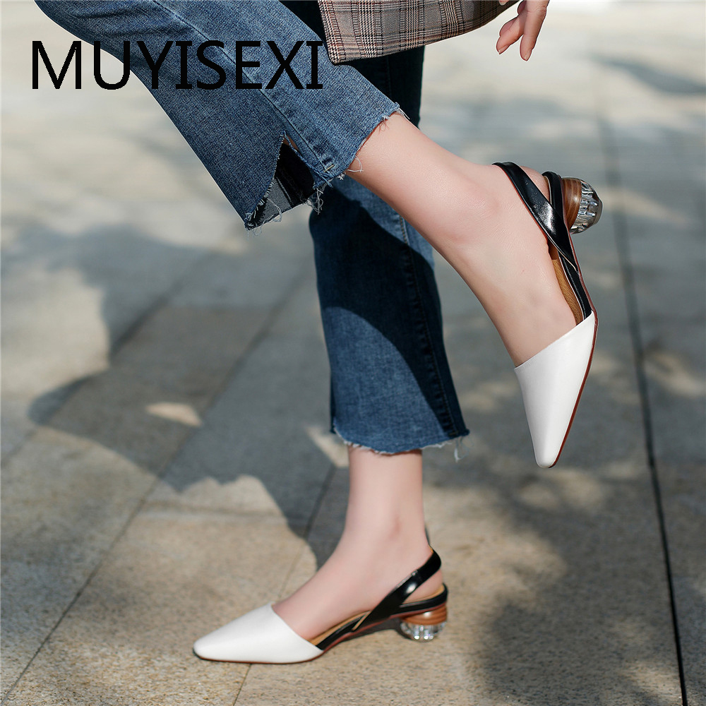 Women High Heel Shoes Slingbacks Pumps Lady Sexy Pointed Toe Work Office Shoes Mixed Colors Round