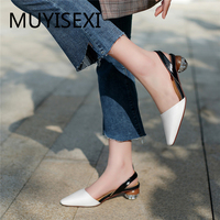 Women High Heel Shoes Slingbacks Pumps Lady Sexy Pointed Toe Work Office Shoes Mixed Colors Round Heel Handmade LLI01 MUYISEXI