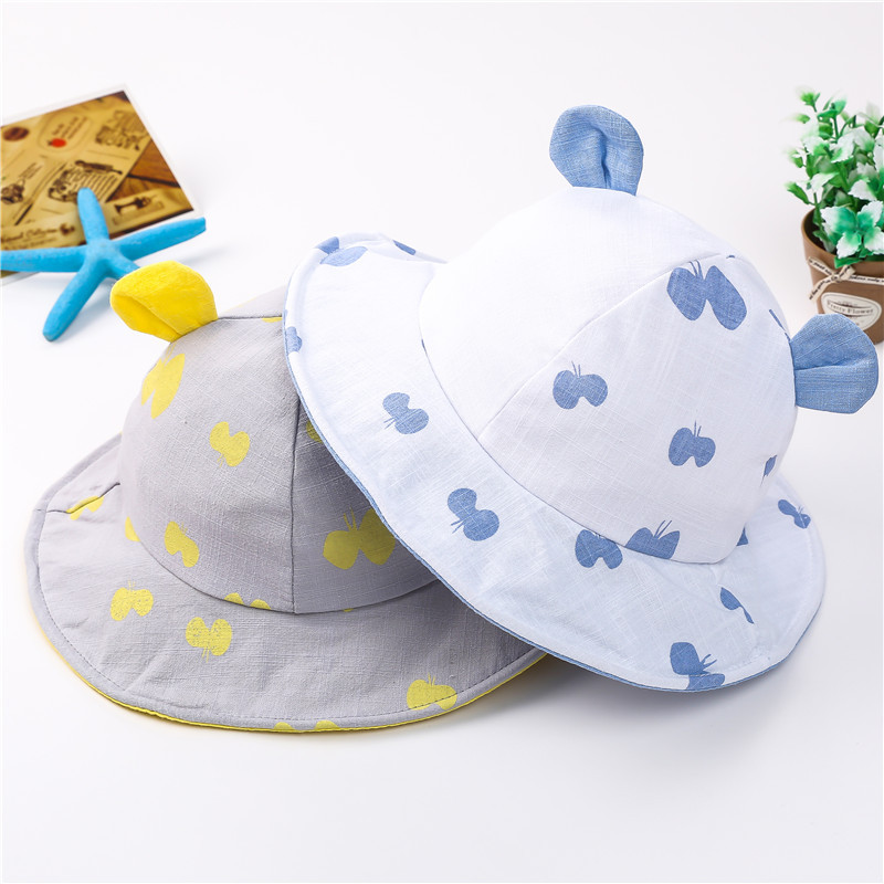 Butterfly print and detail Girls Cotton sun hat
