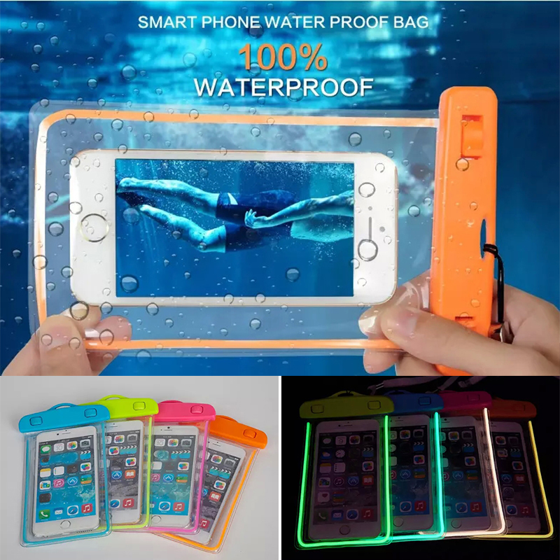 Swim Waterproof Bag Underwater Luminous Case For Samsung Galaxy Note 8 5 4 3 A5 A7 J5 J7 Back cover For iphone 6S Plus 7 8 Plus