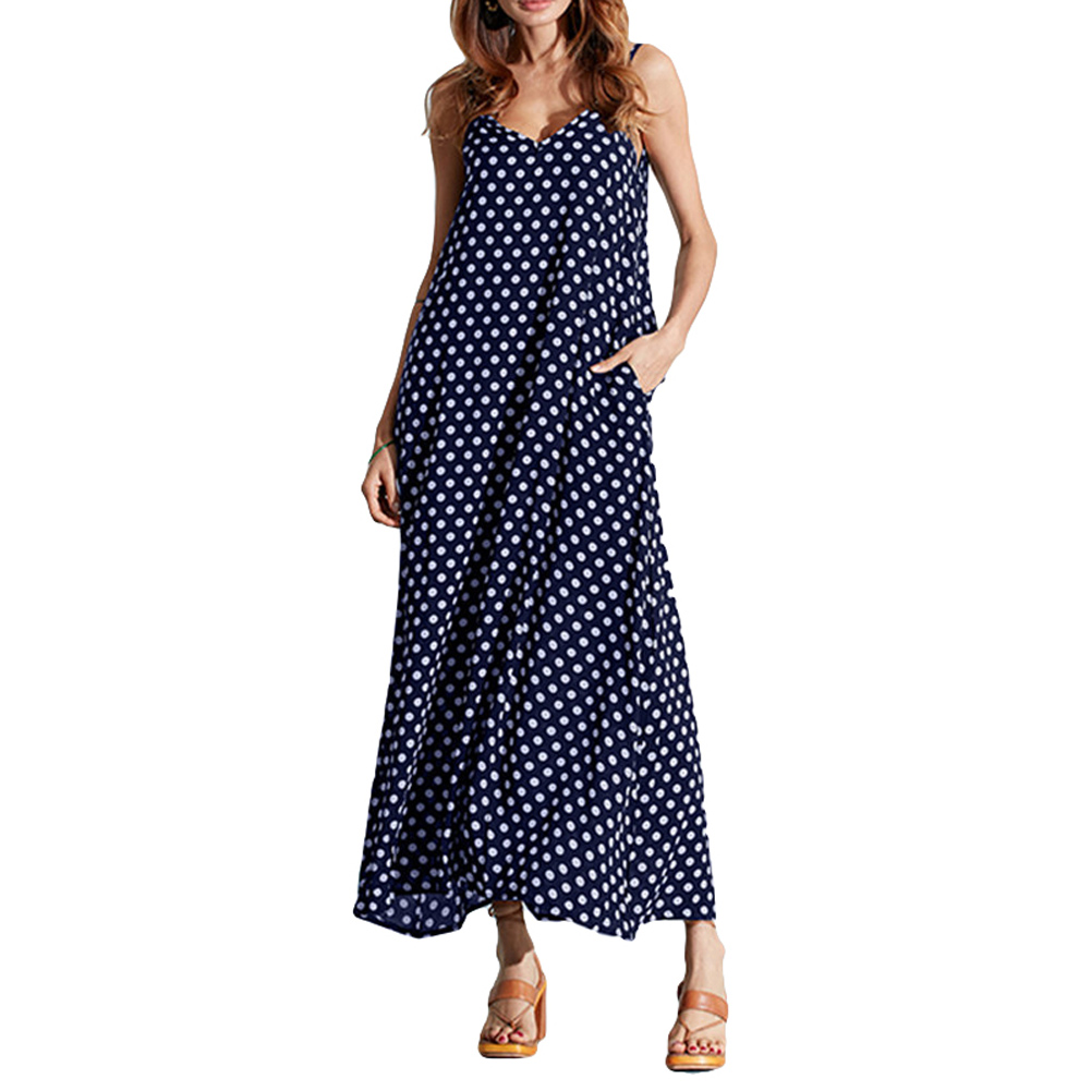 5XL Plus Size Summer Dress 2017 Women Polka Dot Print V Neck Sleeveless Sundress Loose Maxi Long Beach Bohemian Vintage Dress