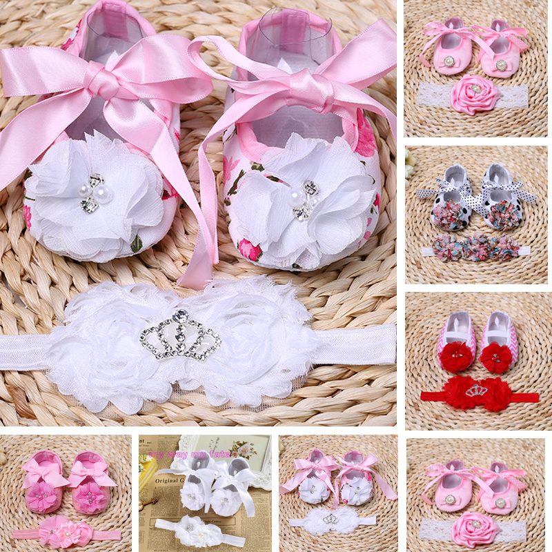 Baby girl pearl Flower shoe zapatos bebe,Rosette Ballerina Baby boots toddler girl shoes headband Set ,sapatinho de menina
