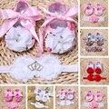 La niña de la perla Flor del zapato zapatos de bebe, Roseta Bailarina Bebé botas niño los zapatos de niña diadema Set, sapatinho de menina