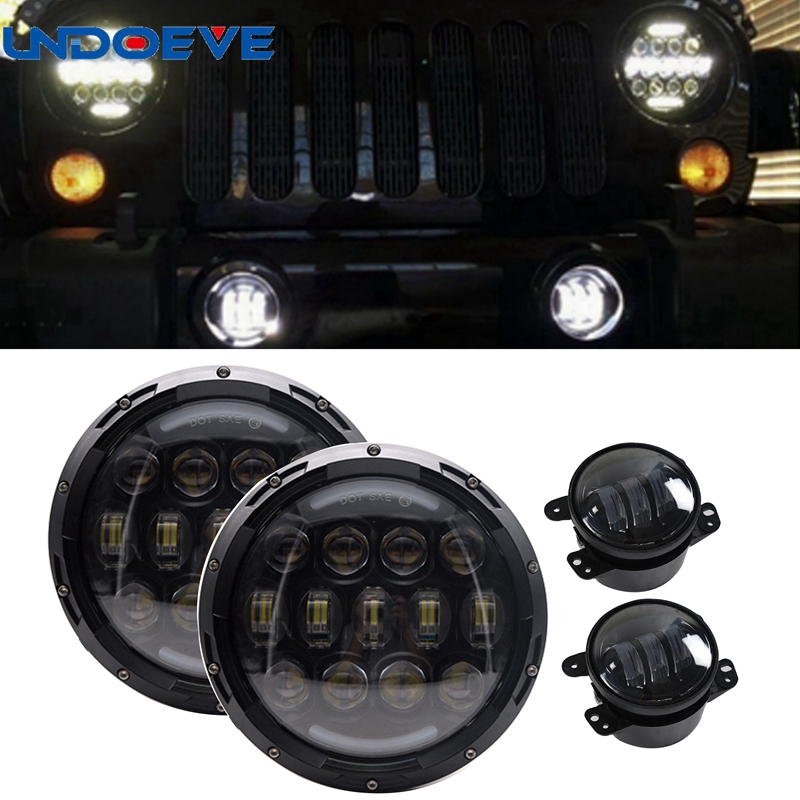 105W 7inch LED Headlamp Assembly with Hi/Lo Beam White DRL and Amber Turn Signal+2x 4inch Fog Light for JEEP Wrangler JK LJ CJ