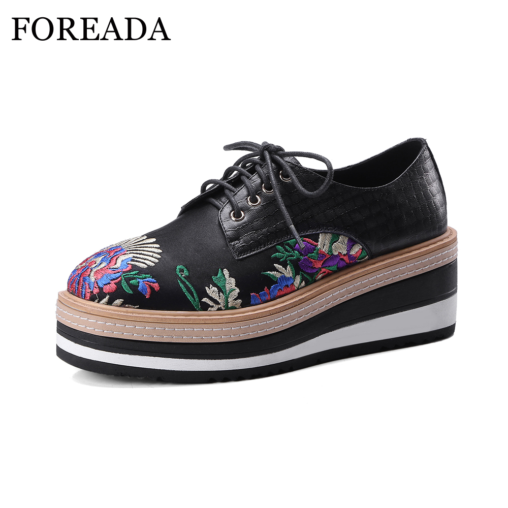 FOREADA Natural Genuine Leather Shoes Women Platform High Heels Embroider Shoes Wedges Pumps Spring Lace Up Casual Shoes Ladies new spring genuine leather women pumps platform wedges round toes embroider back zip high heel handmade women shoes