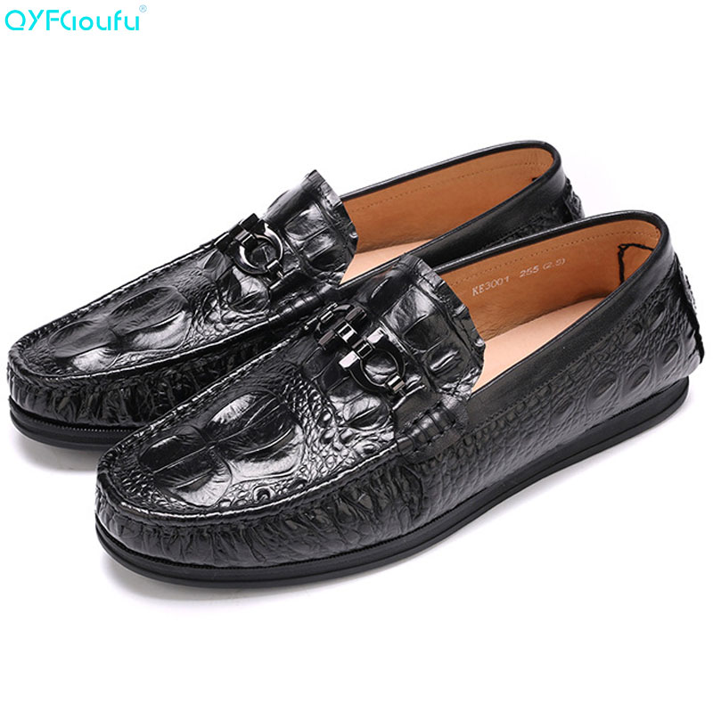 QYFCIOUFU Men Designer Loafers Genuine Leather Driving Shoes Fashion Mens Moccasins 2019 New Crocodile Pattern FlatsQYFCIOUFU Men Designer Loafers Genuine Leather Driving Shoes Fashion Mens Moccasins 2019 New Crocodile Pattern Flats