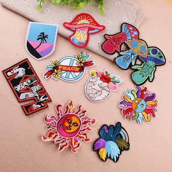 Colorful Heart Sun Mushroom Patch Embroidered Iron On Patches For Clothing Embroidery Design For diy Phone Bag Accessories embroidery