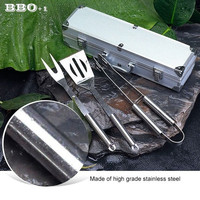3 pcs Stainless Steel BBQ Set w/ Aluminum Carrying Case Barbecue Grilling Tool BBQ Fork+BBQ Tongs+BBQ Spatula