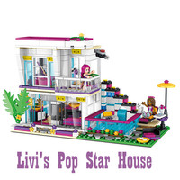 DIY Friends Livi's Pop Star House Building Blocks Bricks Toys for Children Compatible with Legoingly for Christmas Gifts