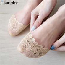 1 pair women Lace sock summer slippers short solid color Polyester lace thin mesh socks invisible Sock Slippers