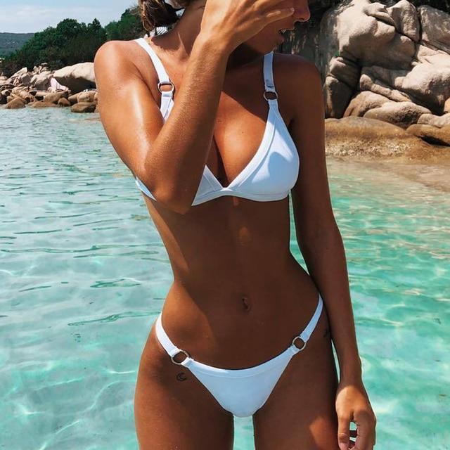 258373763f109 Women Fasion Sexy Brazilian Bikini Set Hollow Out Tops Bandage Swimsuit  Strappy Swimwear Sexy Mini String
