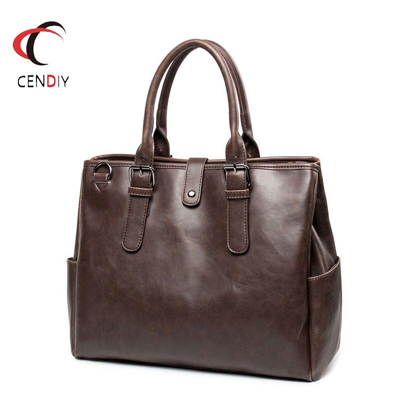 Vintage Handbag Men Briefcase Brand Luxury Men Messenger Bag For Men Travel Bag Male Business Crazy Horse Leather Shoulder Bags