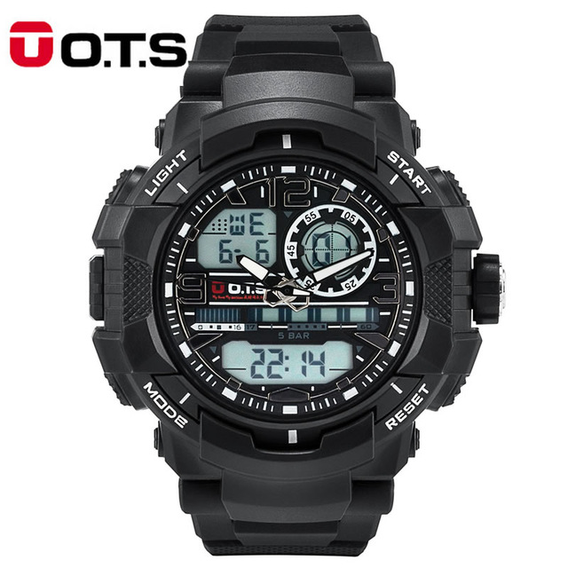 O.T.S relogio masculino digital Mens sports Watches Quartz OTS brand 50m Outdoor Waterproof Multifunction LED Military Watch