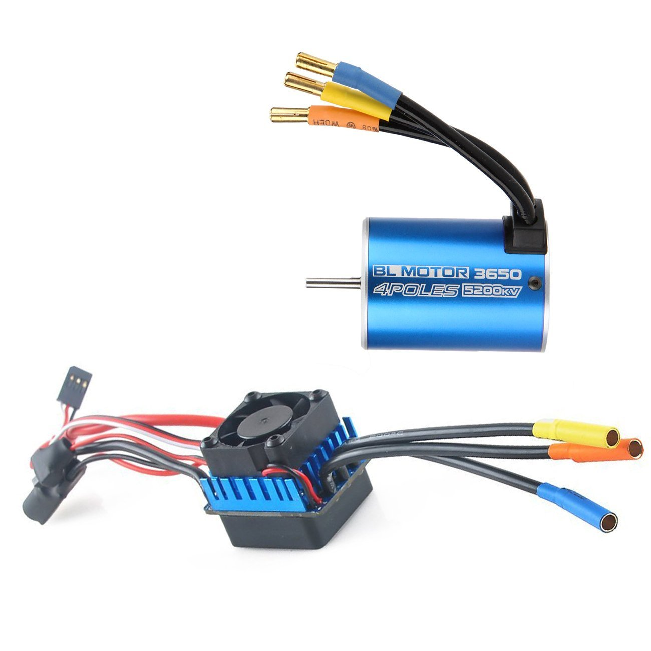 3650 5200KV Brushless Motor and 60A Splashproof ESC Eletronic Speed Controller for 1:10 Racing Truck Truggy RC Cars By RCRunning 4set lot universal rc quadcopter part kit 1045 propeller 1pair hp 30a brushless esc a2212 1000kv outrunner brushless motor