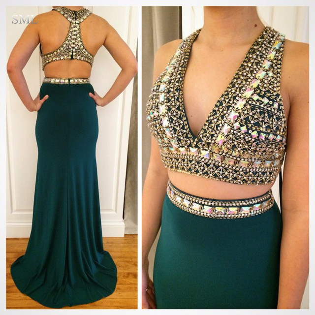 Sml Stunning Two Piece V Neck Long Mermaid Prom Dresses 2017 Emerald