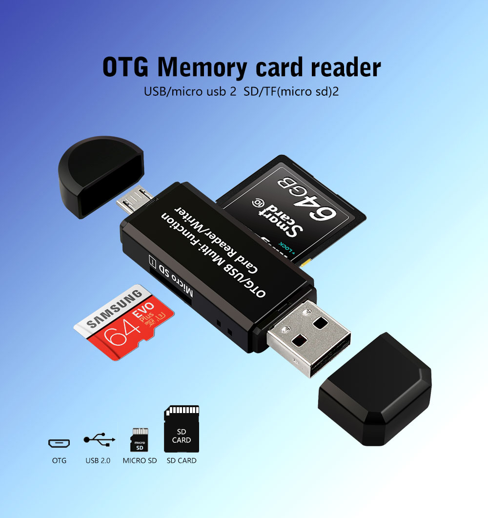 Micro USB OTG to USB 2.0 Adapter SD TF Micro Card Reader For PC Mobile phone US