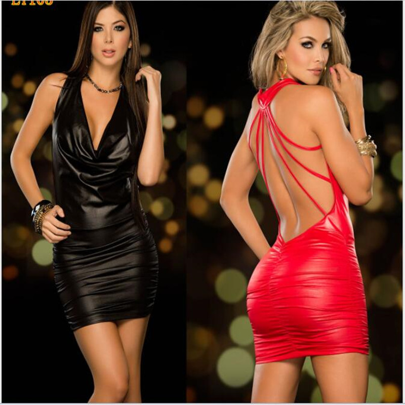 4XL Sexy Backless PVC Club Dress Black Wet Look Fetish Latex Bodycon Faux Leather Party Catsuit Mini Micro Dress Erotic Leotard