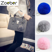 Zoeber New Rabbit Fur Ball Keychain Women Bag Pompom Keyring Key Ring Holder Rabbit Fur Pompoms Key Chains For Handbag Gift