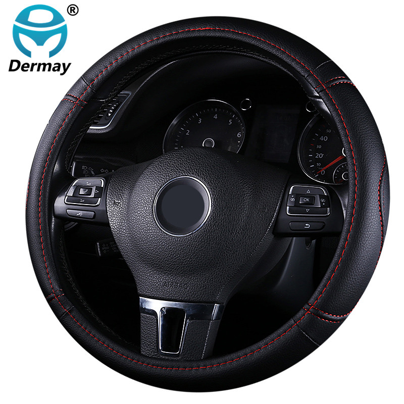 DERMAY Black Car Sport Steering Wheel Cover PU Leather Auto Steering Covers Universal 38CM wheel covers Car Inter Accessories vintage leather steering wheel cover flower printing women s car steering wheel covers for girls car steering accessories