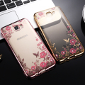 Hot J5 Prime Case Electroplating Frame Rhinestone Secret Garden Flowers Phone Case For Samsung Galaxy On5 2016 G5700 TPU Cover