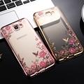 Hot J5 Prime Case Electroplating Frame Rhinestone Secret Garden Flowers Phone Case For Samsung Galaxy On5 2016 G5700 TPU Cover
