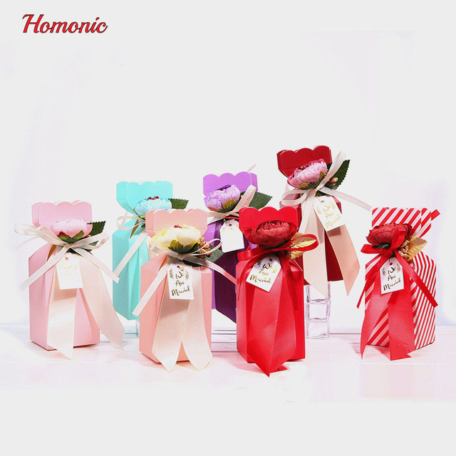 50pcs mini paper flowers wedding bowknot Candy Cookie Cake Bag ...