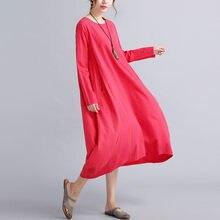 5dddbf84a Envsoll nuevo otoño maternidad vestido de algodón vestido de lino de gran  tamaño blanco rojo vestidos