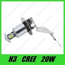 Бесплатная доставка 12 В H3 Светодиодный свет 20 Вт Белый SMD кри чипсы XQD светодиодный автомобилей Противотуманные фары высокой Мощность автомобиля туман лампы 2 шт./лот
