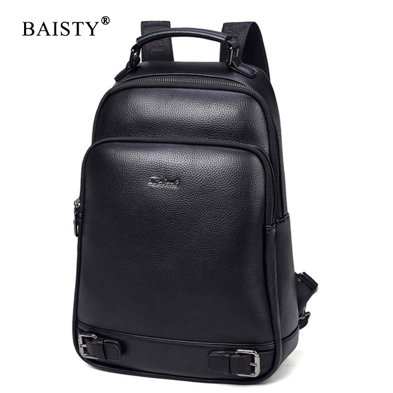 BAISTY Brand Men Backpacks High Quality Pu Leather England Style Backpack School Bag For Teenagers Male Black Blue Travel Bags zhierna brand women bow backpacks pu leather backpack travel casual bags high quality girls school bag for teenagers