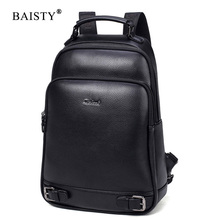 BAISTY Brand Men Backpacks High Quality Pu Leather England Style Backpack School Bag For Teenagers Male Black Blue Travel Bags high quality england vintage style genuine leather men backpacks for college school backpacks for 14 inch laptop bags 9024