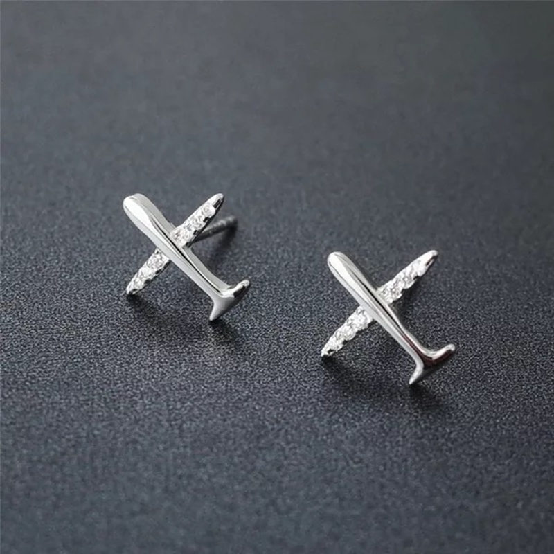 Swan Jewelry 2018 New Arrival S925 Sterling Silver Airplane Stud Earrings Jewelry For Women Men Earrings Unisex Gift For Lovers image