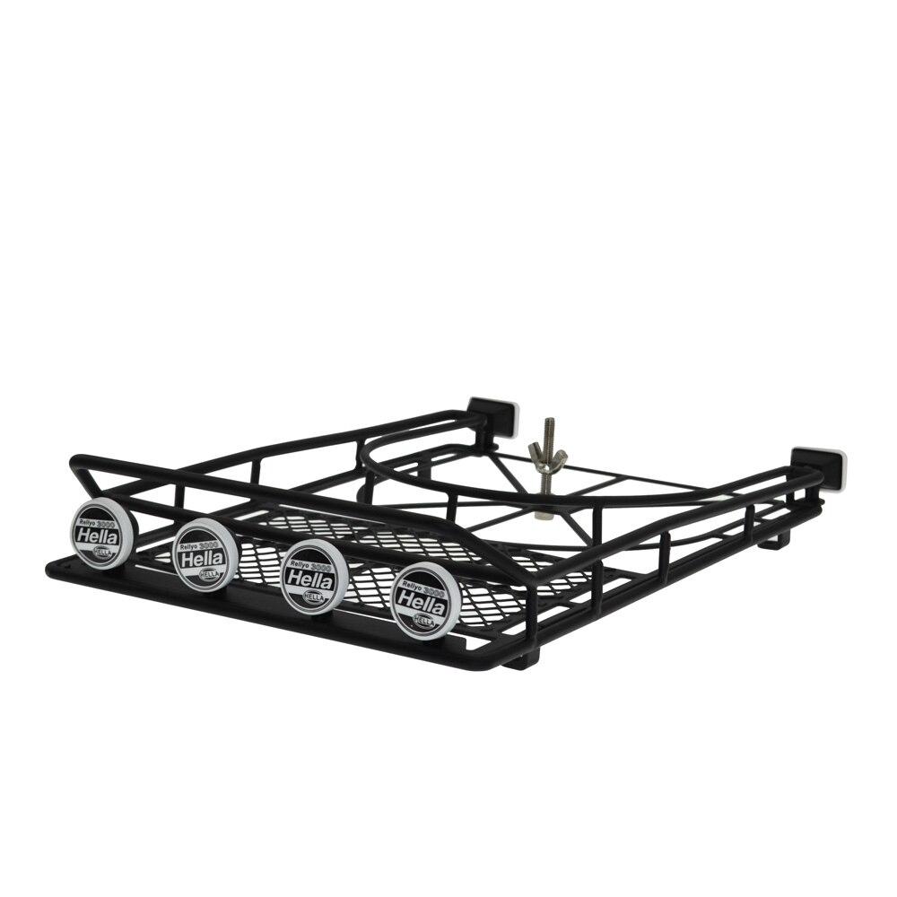 Galerie de toit en métal avec support de pneu de rechange et lumière LED pour 1:10 RC roche chenille axiale SCX10 & SCX10 II 90046 90047 D90