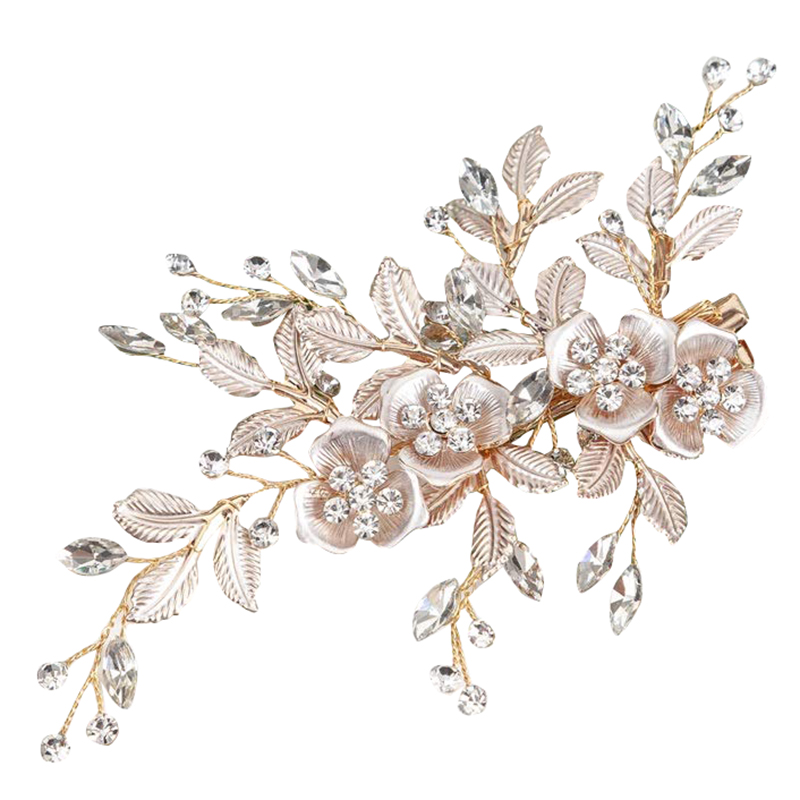 Hair Accessories for Wedding-Light Wedding Hair Clip with Bridal Barrette-Handmade Flower Clip Hair Pieces for Women