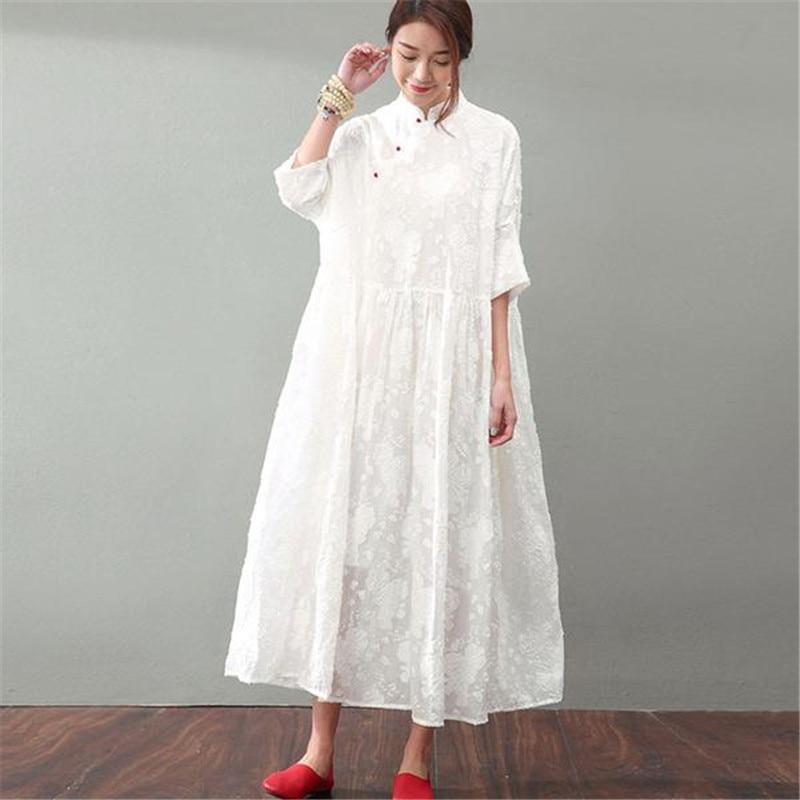 BUYKUD été femmes Jacquard dentelle robes élégant Floral longues robes blanches col montant demi manches Maxi robe avec perles