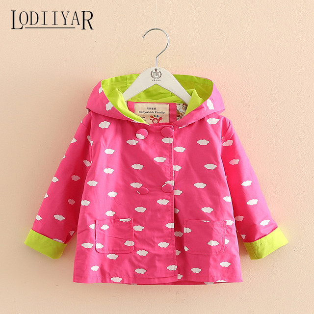 Printed Clouds Full Sleeve Toddler Girls Trench Coat Children Cartoon Autumn Winter Kids Warm Outerwear, Jacket