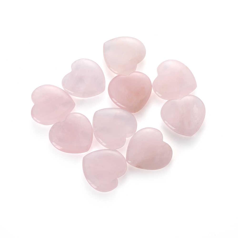 1/2Pcs Heart Shaped Natural Rose Crystal Stone Pink Quartz Specimens Healing Stone Love Gems Pink Home Decor