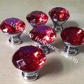 10 pçs/lote frete grátis 30 mm liga de zinco cristal de diamante vermelho de cozinha puxadores alças Dresser armário porta Knob puxa