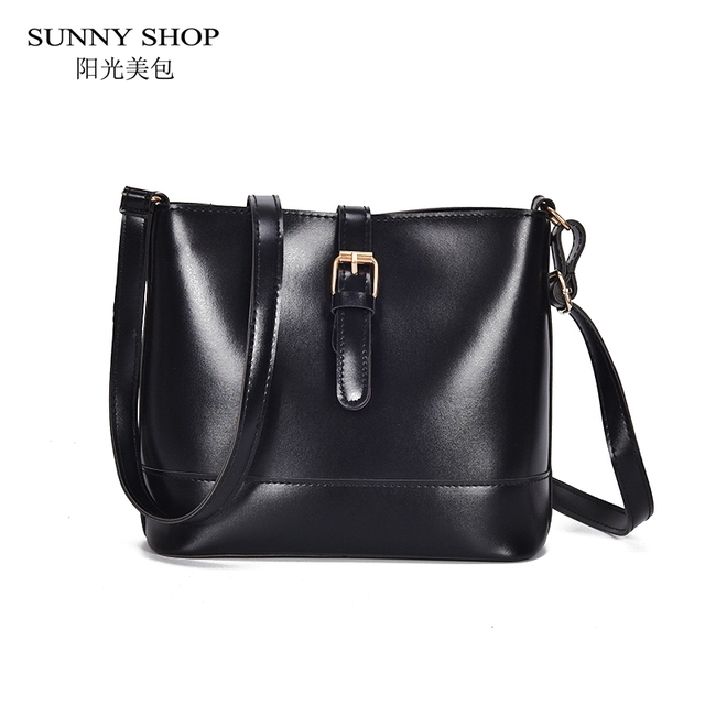 8b090daba6 SUNNY SHOP Casual Soft Leather Bags For Women 2018 Solid Black Brown Small  Side Bag Ladies Korean Shoulder Bag Sling Messenger
