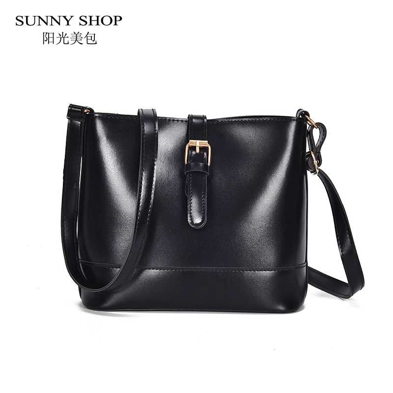 d373fe29e32 SUNNY SHOP Casual Soft Leather Bags For Women 2018 Solid Black Brown ...