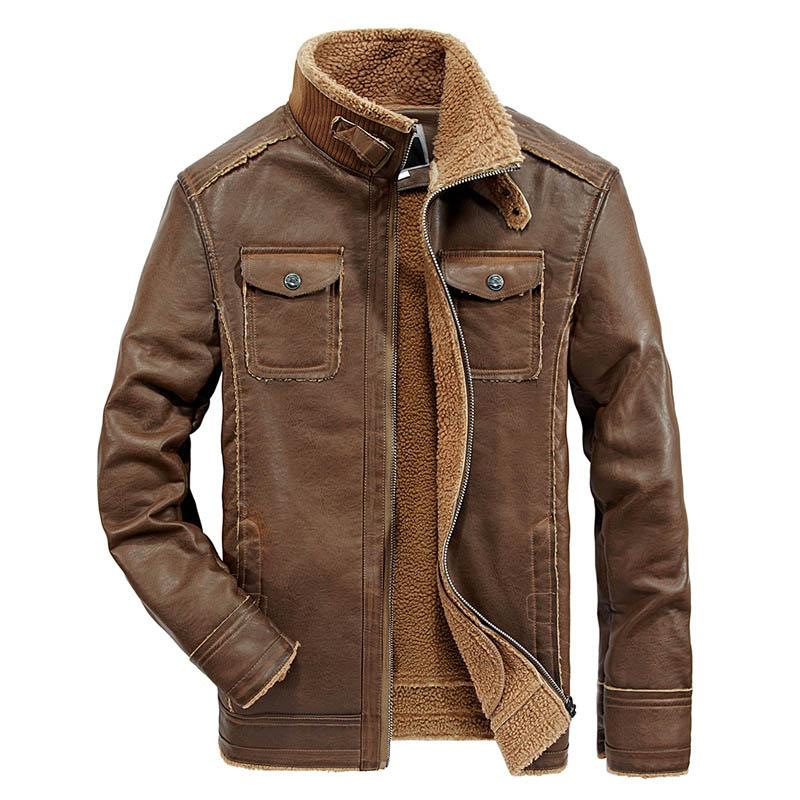 Vintage Winter Leather Jacket Men Casual Thick Warm Wool Liner Windbreaker Moto&Biker Jacket Men Full Sleeve Leather Coat Men