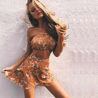 Summer Sexy Women's Sets Off Shoulder Floral Print Chiffon Two Pieces Beach Set Off Shoulder Crop Tops and Skirt Casual Suits