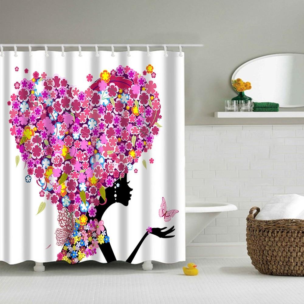 Showy Polyester Shower Bathroom Curtain Thickening Waterproof Fashion Butterflygirl Hair Butterfly Girl Pattern Shower Shower Curtains Fromhome Polyester Shower Bathroom Curtain Thickening Waterproof