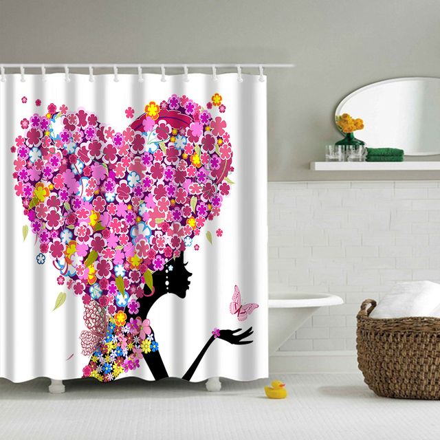 Polyester Shower Bathroom Curtain Thickening Waterproof Fashion Butterfly  Girl Hair Butterfly Girl Pattern Shower Curtain