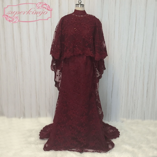 SuperKimJo High Neck Lace Burgundy Evening Dresses Lebanon Dubai Muslim Kaftan Long Sleeve Prom Dresses with Rhinestones