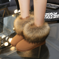 Women Boots Faux Fox Fur Solid Slip On Soft Cute 2017 Women Snow Boots Round Toe