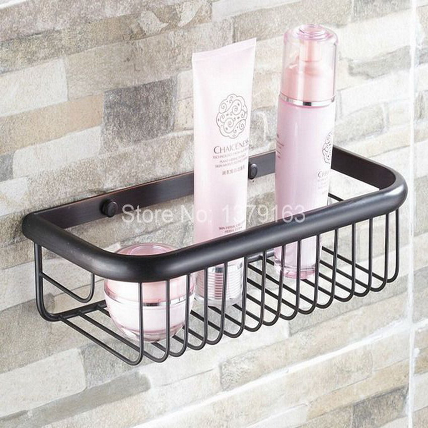 Oil Rubbed Bronze Wall Mounted Bathroom Accessory Soap / Sponge Shower Storage Basket aba125 oil rubbed bronze wall mounted large corner dual layer shower storage basket and robe hook aba067