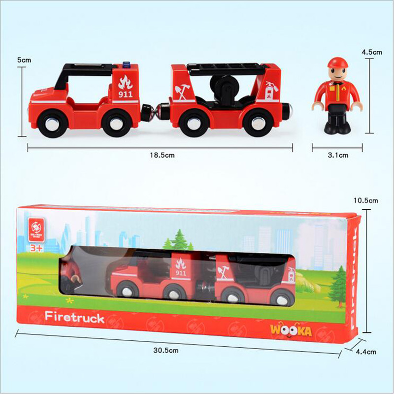 Купить с кэшбэком ABS Locomotive Model Set With One People Magnetic Slot Car Fit For Wooden Railway Tracks Train Tracks Baby Toys Gift