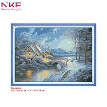 NKF Cross Stitch Kits Printed Fabric 11/14CT Homeland Landscape Needle Crafts DIY Handmade Gift Wall Painting